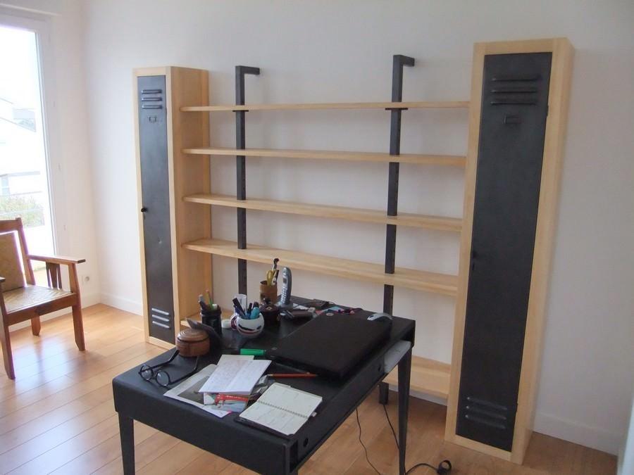 Bibliothque Style Industriel Acier Et Bois Sur Mesure