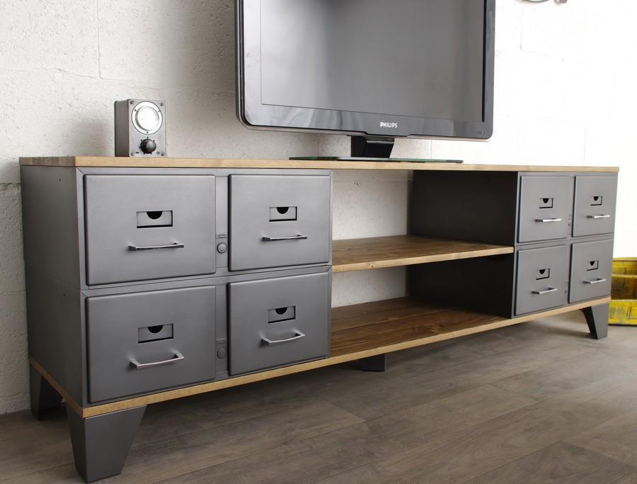 meuble tv industriel 8 tiroirs ref oklahoma