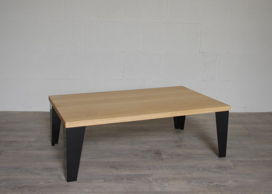 table basse acier et chene pieds acier