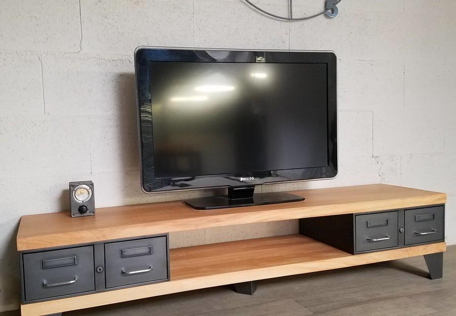 meuble tv style industriel ref manhattan
