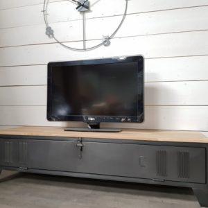 meuble tv industriel acier bois