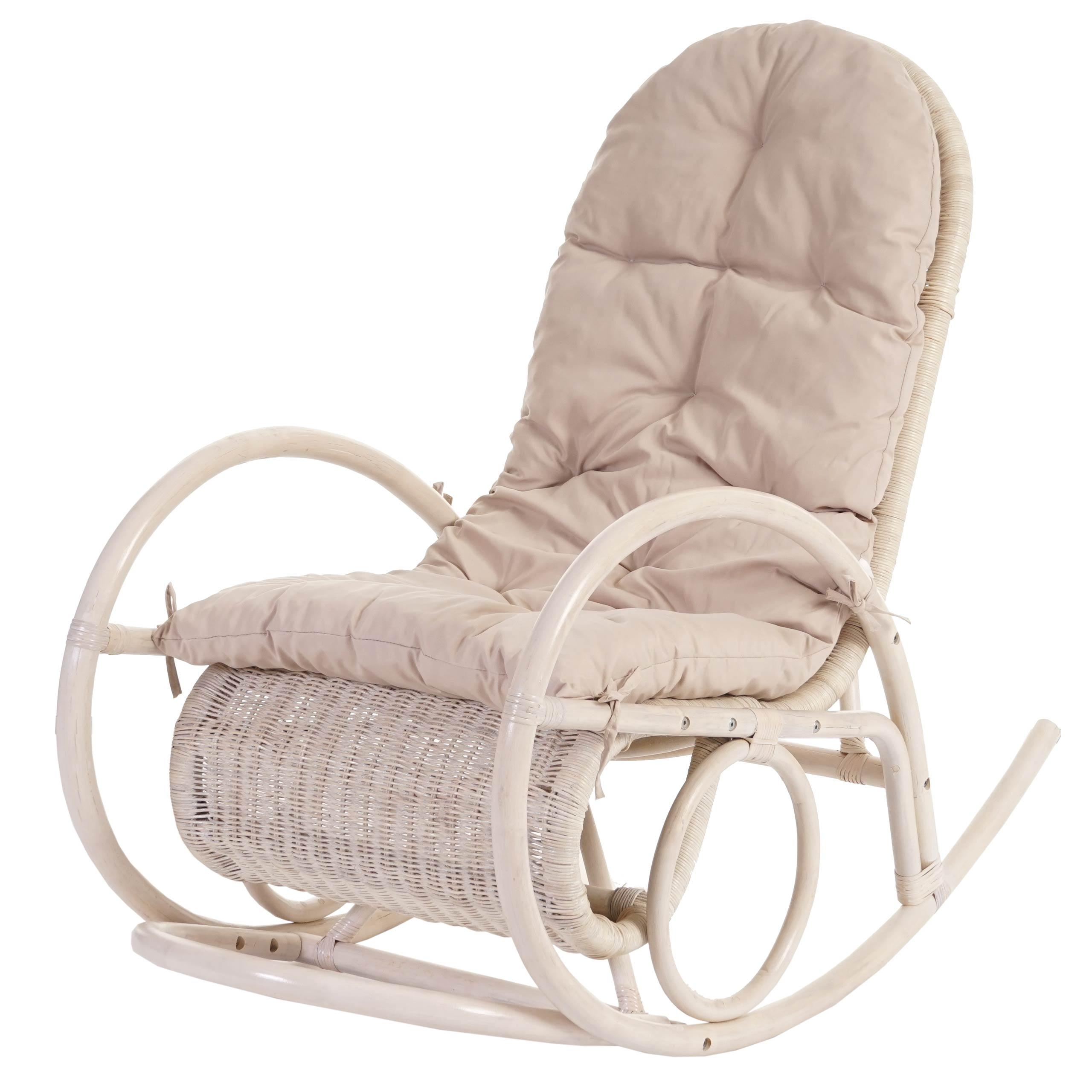 Sedia a dondolo Esmeraldas legno rattan 115x58x101cm cuscino avorio P  eBay
