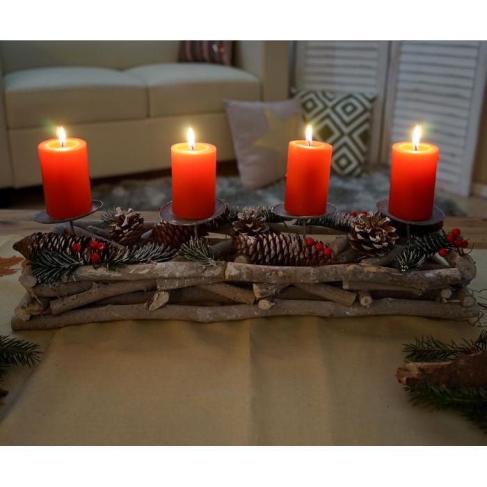Adventskranz lnglich Weihnachtsdeko Adventsgesteck Holz