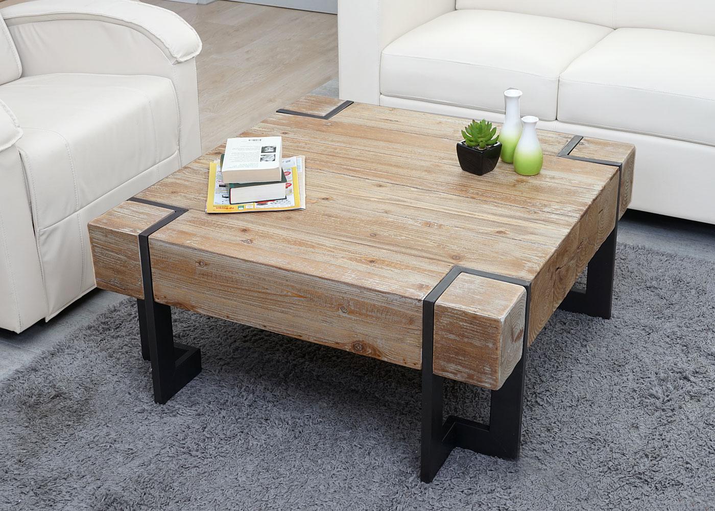 Couchtisch HWCA15 Wohnzimmertisch Tanne Holz rustikal massiv 40x90x90cm