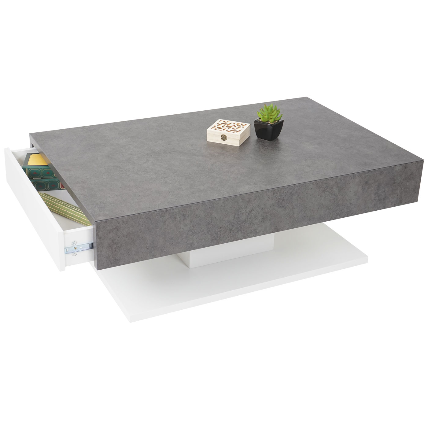 MCA Couchtisch Wohnzimmertisch BetonOptik mit Schubladen