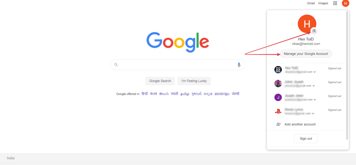 Click on Camera Icon next to profile picture / manage your Google account