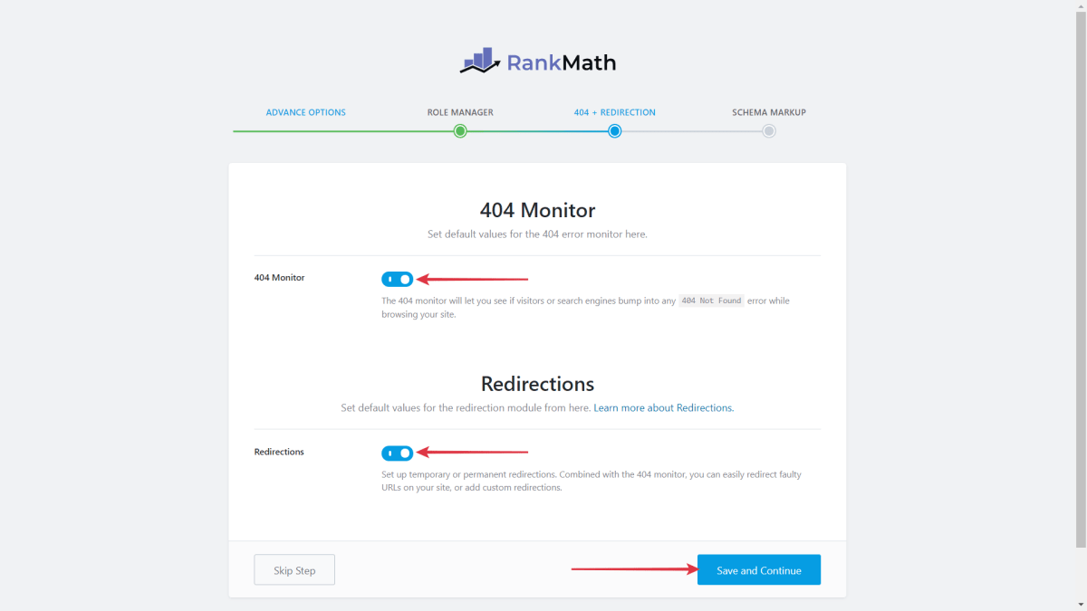 Enable 404 Monitor and Redirections  Save and Continue