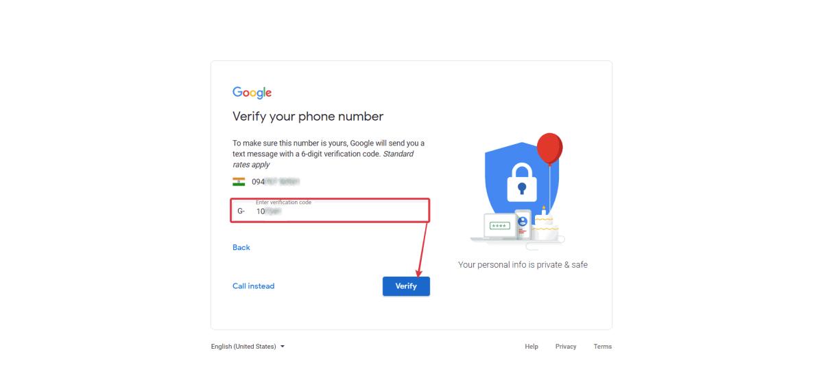 Enter verification code > Click Verify