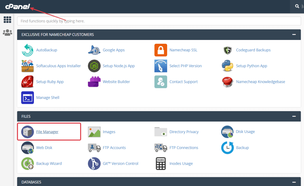 Go to hosting cPanel > Click File Manager