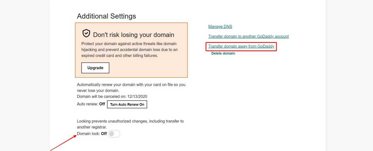 Turn Off Domain Lock > Click On Transfer Domain Away From GoDaddy