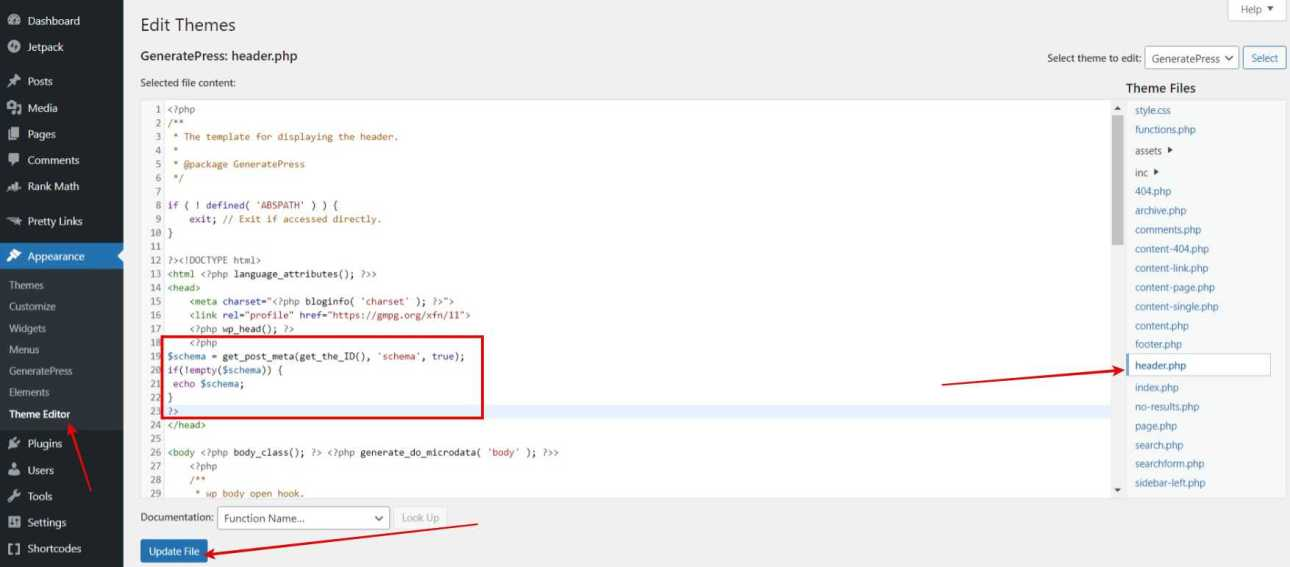 Navigate to Appearance > Theme Editor > header.php