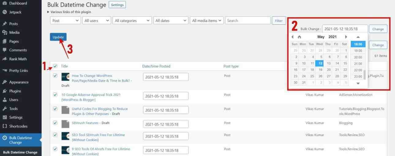 Select all the posts > Choose Date & Time > Click Change > Update