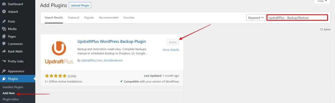 """Log in to website Dashboard > Plugins > Add New > Search For """"UpdraftPlus - Backup/Restore"""" Install & Activate the Plugin"""