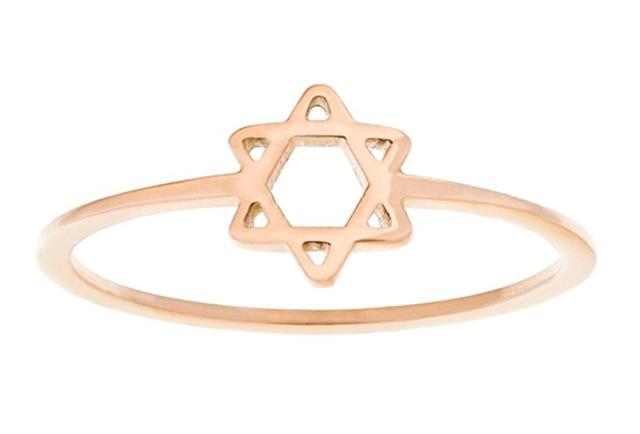 jewish star rose gold ring