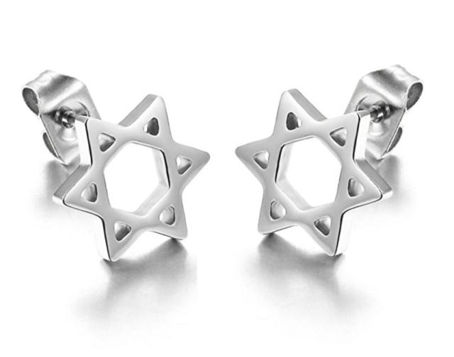 jewish star stud earrings
