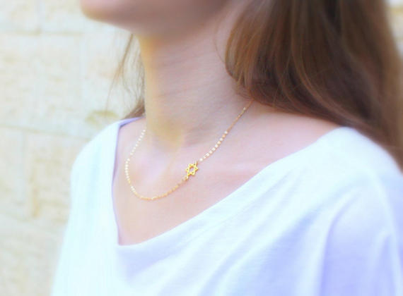 sideways jewish star necklace