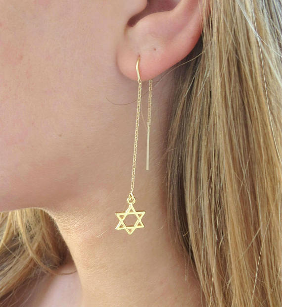 jewish star thread earrings