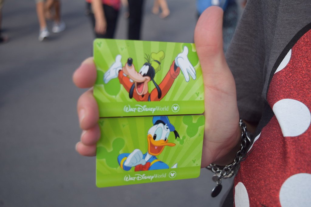Walt Disney World cards have Donald Duck and Goofy on them as a lady holds them to the camera