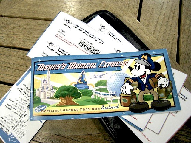 Disney's Magical Express luggage tags and tickets.