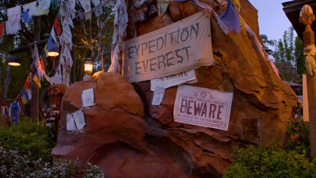 "Rocks with signs stating ""Expedition Everest"" and ""BEWARE"""