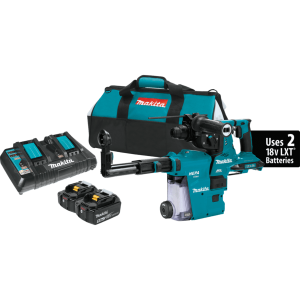 Makita XRH10PTW Brushless Cordless Rotary Hammer Kit with Dust Extractor
