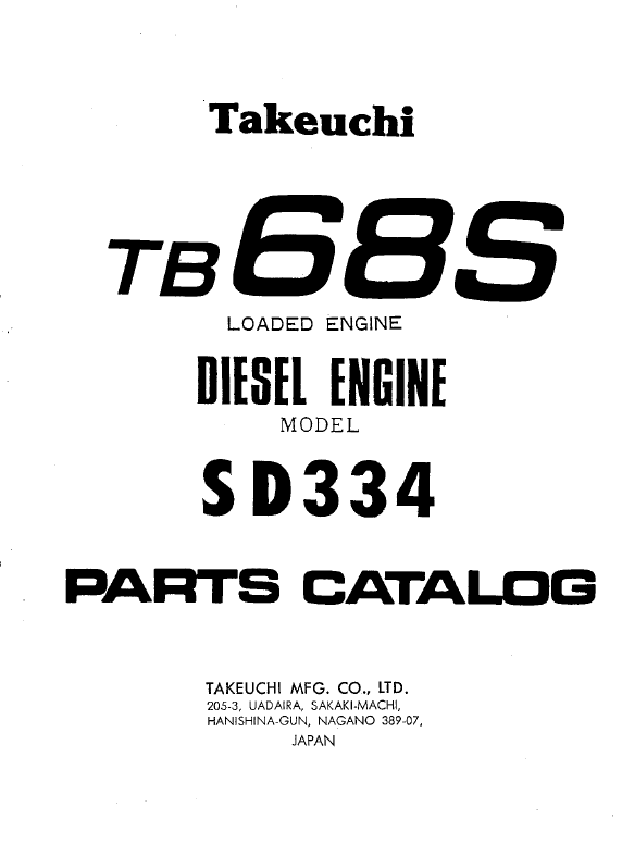 Takeuchi TB68S Loaded Engine Model SD334 Parts Manual