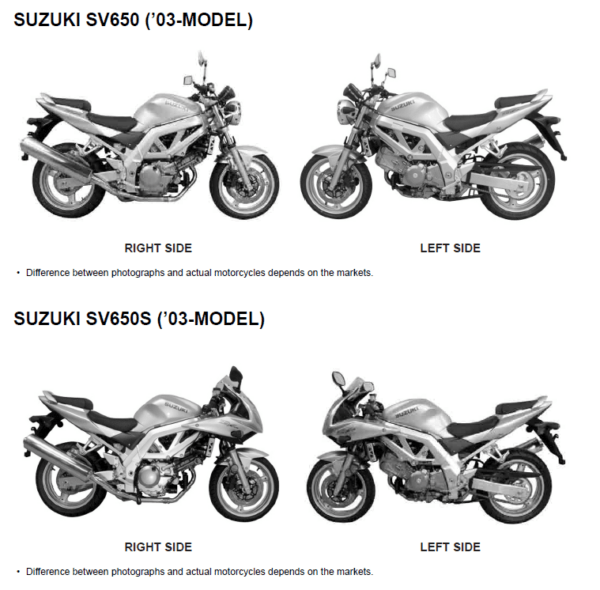 Suzuki SV650S SV605A SV650SF Factory Service Manual 2003