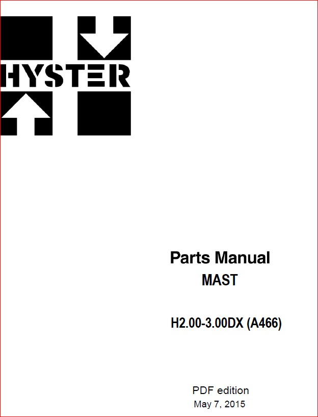 Hyster H2 00dx H2 500dx H3 00dx A466 Mast Parts Manual