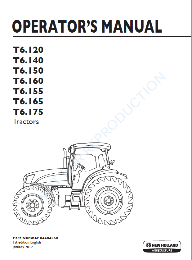 New Holland T6 120 T6 140 T6 150 T6 155 T6 160 T6 165 T6