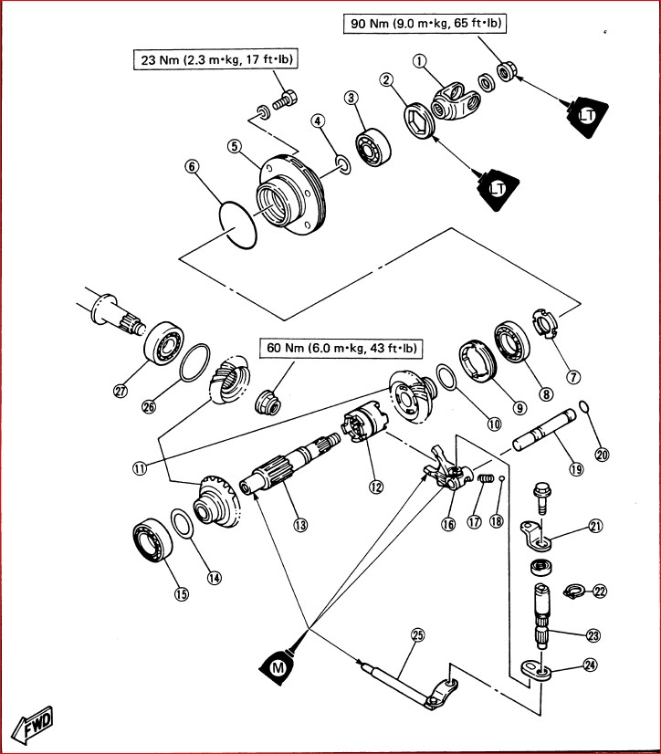 1987-1989 Yamaha Moto 4 Shaft Reverse Yfm200dx Service