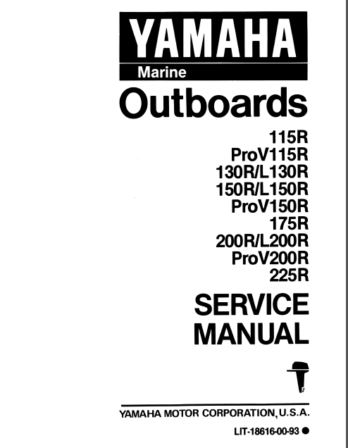 1993 Yamaha 175 Txrr Outboard Service Repair Maintenance