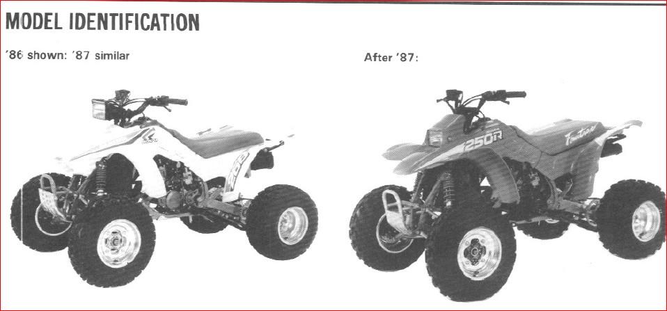 Honda Trx250r Fourtrax Service Repair Manual 1986-1989