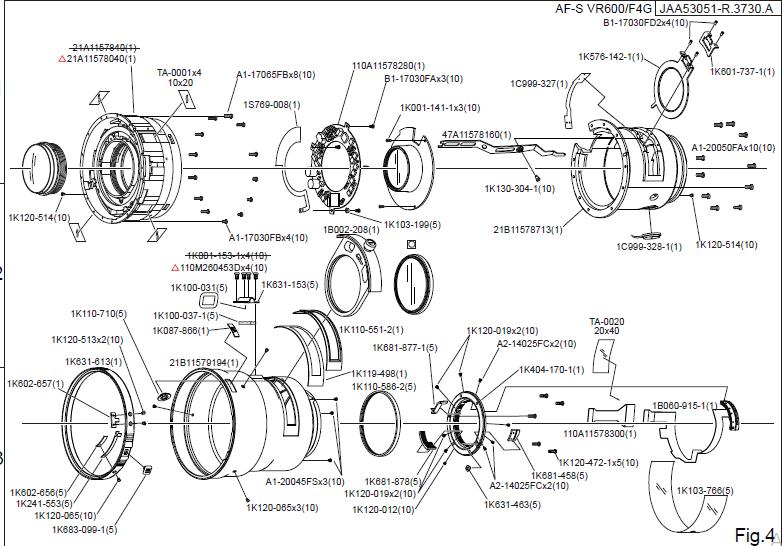 Nikon Af S Nikkor 600mm F 4g Ed Vr Service Manual Repair