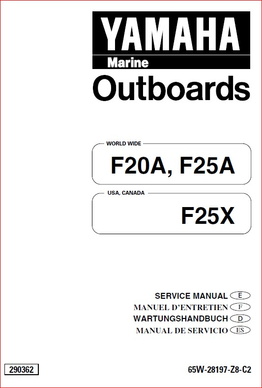 Yamaha 20hp 25hp 4 Stroke Outboard Motor Shop Manual 1996