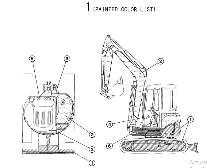 Yanmar Vio50 2 Crawler backhoe Parts Catalogue Manual