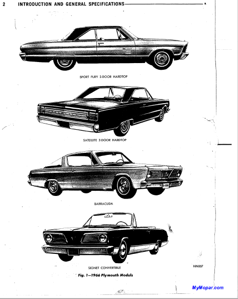 1966 Plymouth Valiant V-100 V-200 Signet Barracuda Service