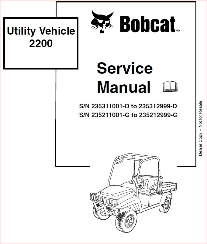 BOBCAT 2200 2300 UTITLITY VEHICLE SERVICE REPAIR WORKSHOP