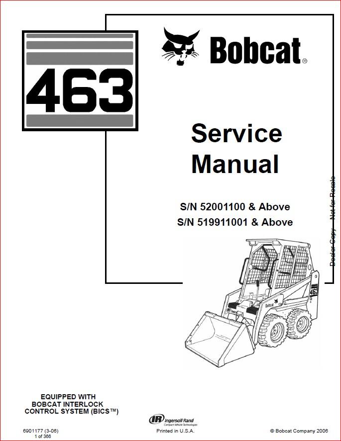 BOBCAT 463 LOADER SERVICE REPAIR WORKSHOP MANUAL DOWNLOAD