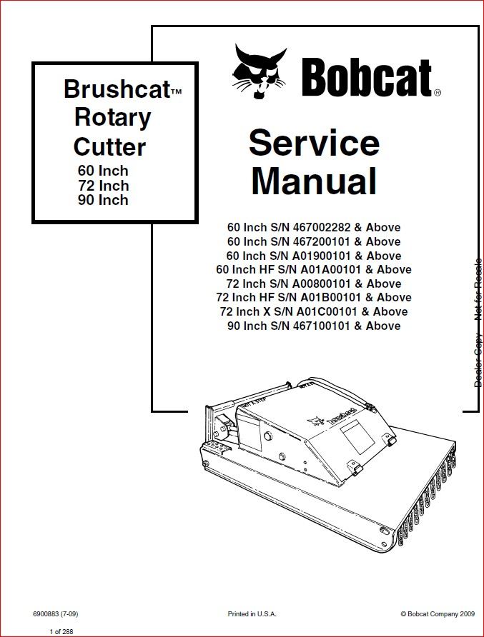BOBCAT BRUSHCAT ROTARY CUTTER SERVICE REPAIR WORKSHOP