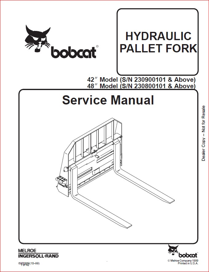 BOBCAT HYDRAULIC PALLET FORK SERVICE REPAIR WORKSHOP