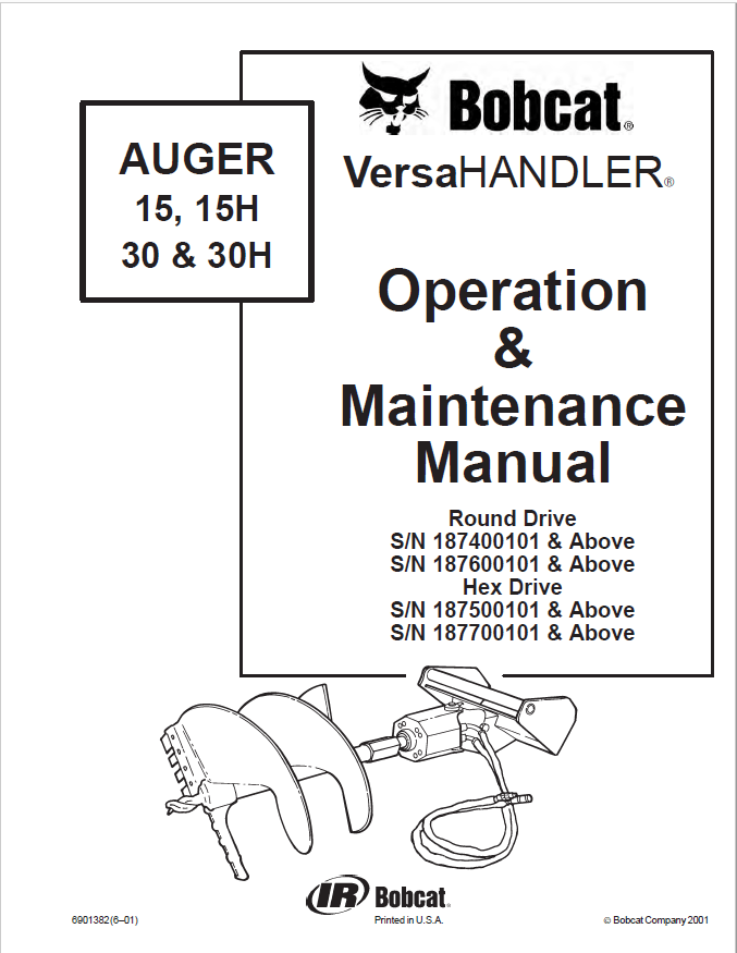 Bobcat Auger 15,15H,30,30H Operation & Maintenance Manual