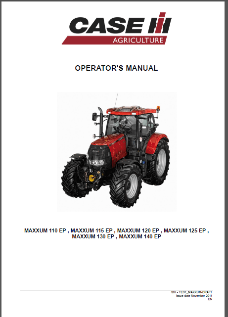 Case IH MAXXUM 110 115 120 125 130 140 EP Operators Manual