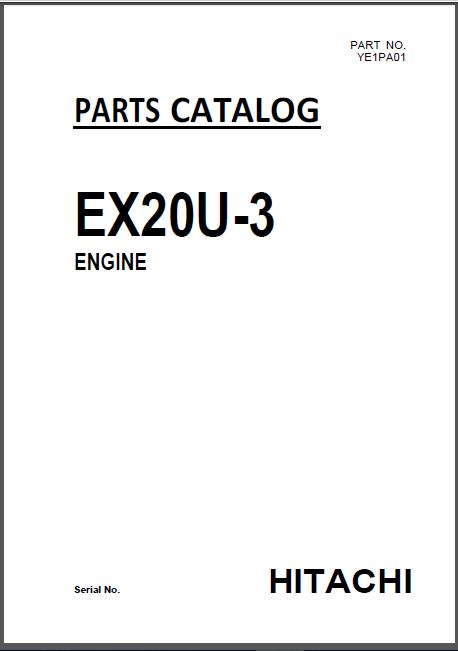 Hitachi Ex20u 3 Mini Excavator Engine Parts Catalog Manual