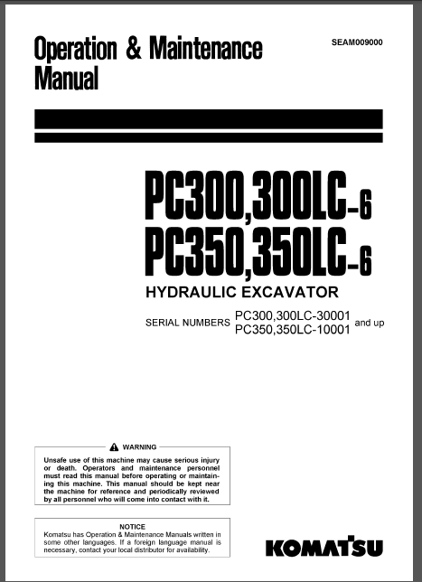 Komatsu Pc300 6 S N 30001 Up Pc350 PDF DOWNLOAD