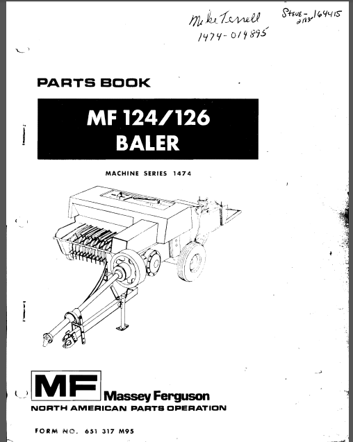 Massey Ferguson Mf 124 126 Baler Parts Manual 651317m95