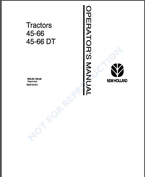New Holland Fiat 45 66 45 66dt Tractor Operators Manual