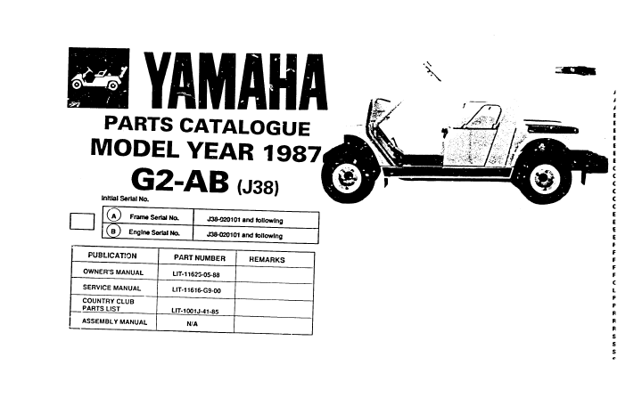 Yamaha G2abj38 Golf Cart Parts Manual Catalog 1987