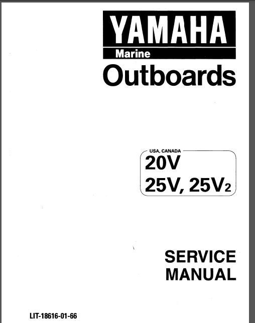Yamaha Marine Outboards 20d 25n 20v 20v2 25v 25v2 25mshd