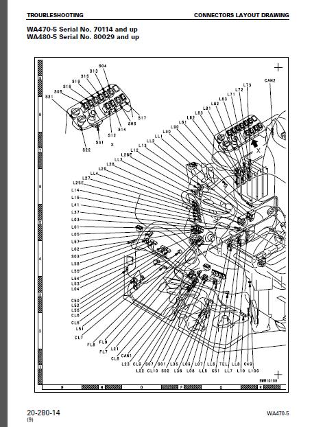 Komatsu Wa470-5 Wa480-5 Wa470-5h Wa480-5h Wheel Loader