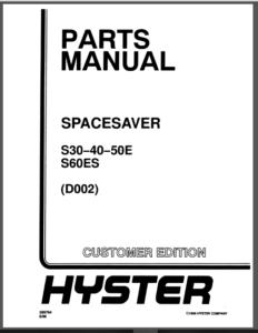 Hyster Spacesaver D002 S30e S40e S50e S60es Forklift Parts